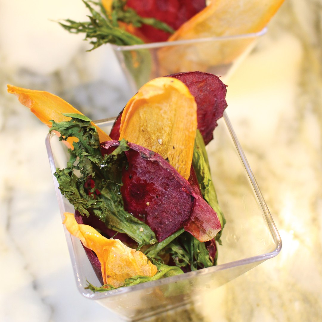 Vegetable Crisps With Olive Powder